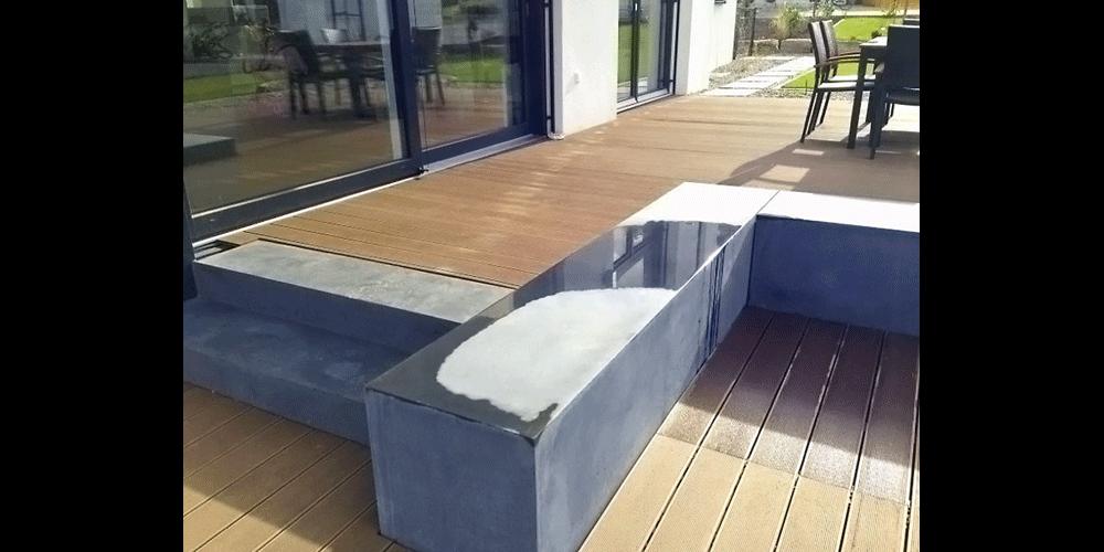 Sitzblöcke und Blockstufen Sichtbeton Anthrazit glatt